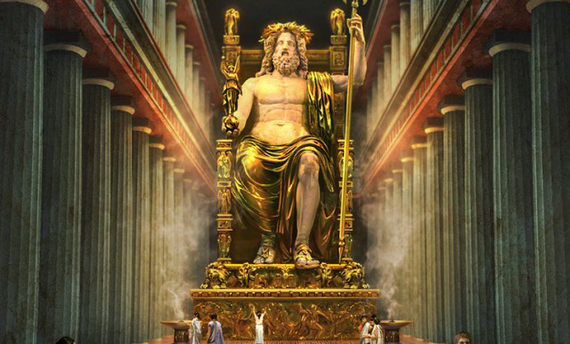 One of the many representation of the statue of Zeus at Olympia.