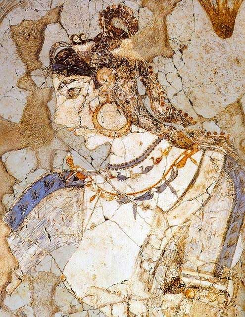 «The Mistress of the Animals», from Xeste 3, on Akrotiri.