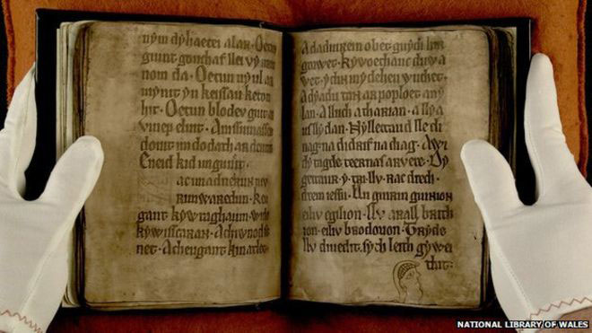 The Black Book is the first Welsh text to include medieval figures such as King Arthur. Credit: National Library of Wales.