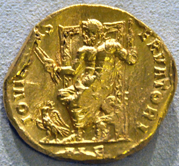 Phidias' Zeus on a coin from the Bode-Museum Berlin (Germany).