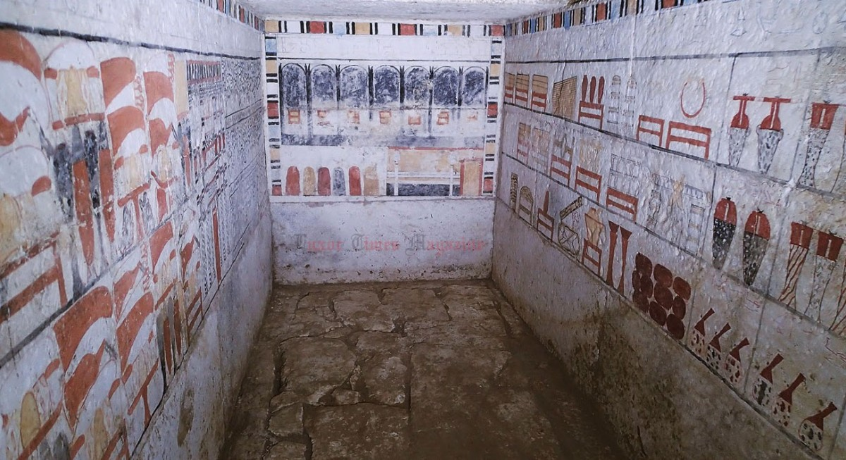 One of the burial chambers with the well preserved paintings on the walls. Photo Credit: Luxor Times Magazine.