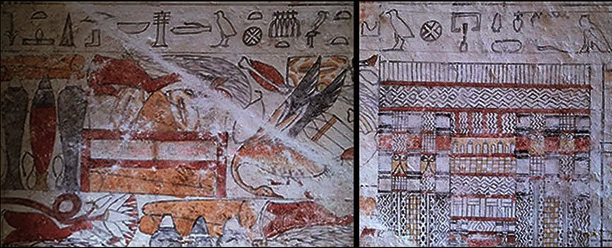 Detail of the wall paintings in the tombs. The offerings list is visible at the top. Photo Credit: Luxor Times Magazine.