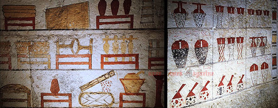 Representations of rituals and items included in the chambers. Photo Credit: Luxor Times Magazine.