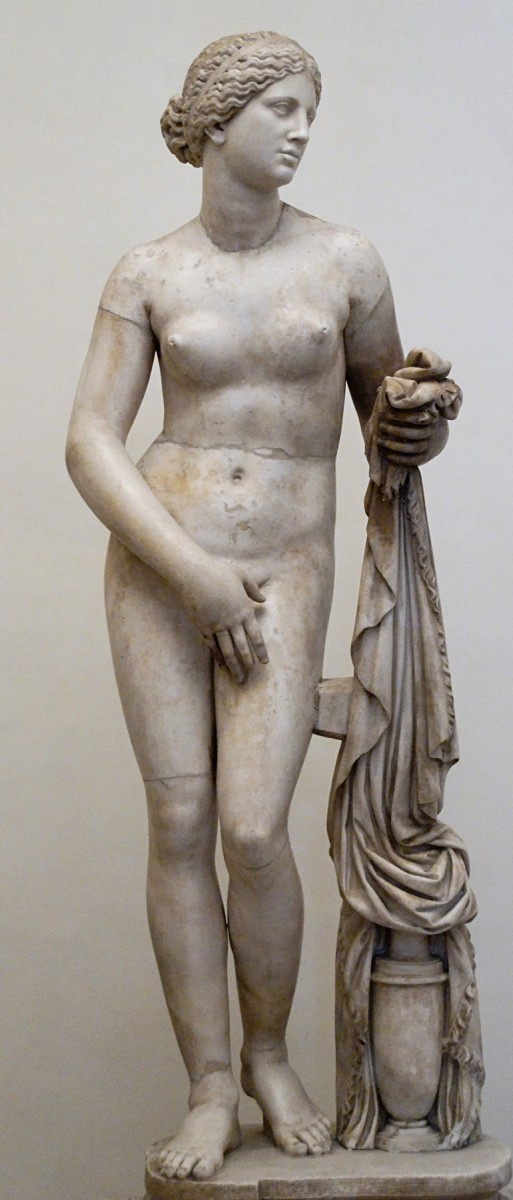 The Ludovisi Aphrodite of Knidus, Roman marble copy (torso and thighs) with restored head, arms, legs and drapery support.