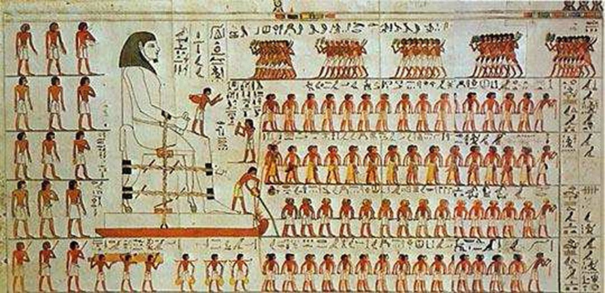 From the tomb of Djehutyhotep, Deir el-Bersha, Egypt 12th Dynasty, about 1850 BC. The famous scene of four teams of men dragging a huge statue of him.
