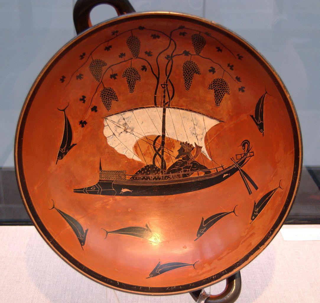 The Dionysos cup. Attic black-figure kylix, ca. 530 BC. From Vulci. Staatliche Antikensammlung, Munich.
