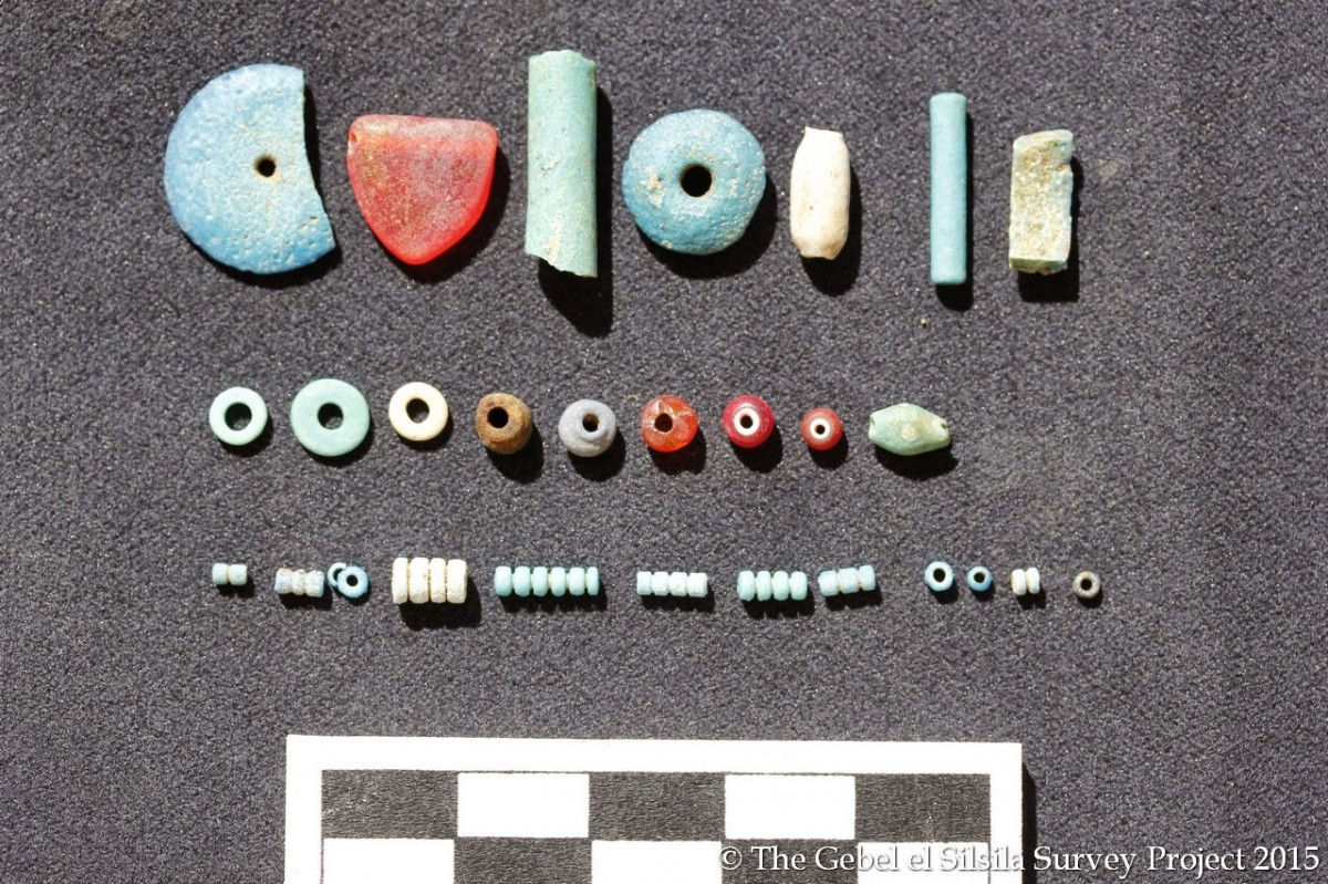 Coloured beads found at the site. Photo Credit: Gebel el Silsila Survey Project.