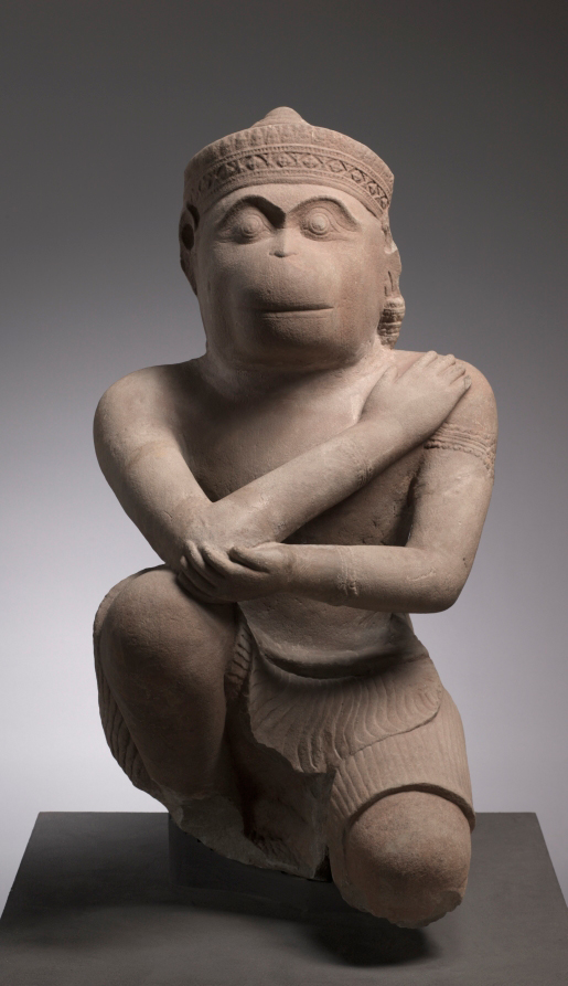 Hanuman is a figure with a human body and the head and tail of a monkey who is one of the main characters in the Hindu epic The Ramayana.