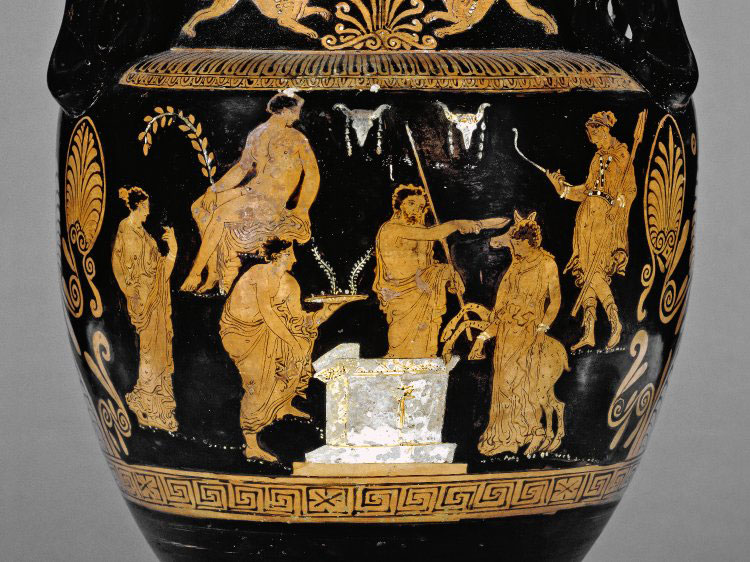 Red-figured volute-krater (bowl for mixing wine and water) showing the sacrifice of Iphigeneia. Agamemnon prepares to sacrifice her, but Artemis intervenes and turns her into a deer. The scene may have been inspired by Euripides' tragedy Iphigene. British Museum.