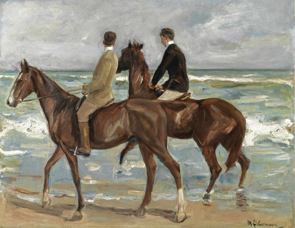 Zwei Reiter am Strand nach links (Two Riders on a Beach) of 1901, one of Max Liebermann's first large-scale oils of horses and riders.