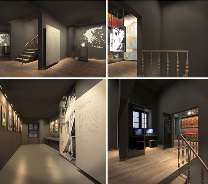"""Fig. 2. View of the exhibition section """"Where are you from? / Where are we from?"""". 3D photorealistic depiction, AnRu Company."""