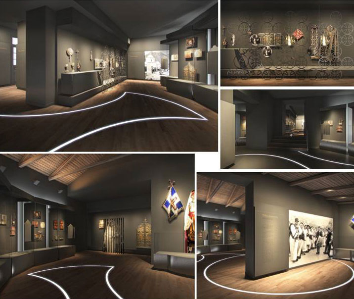 """Fig. 9. View of the exhibition section """"What is their faith? / What is your faith?"""". 3D photorealistic depiction, AnRu Company."""