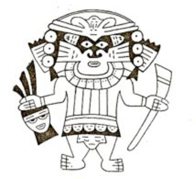 Religious leader dressed in the costume impersonating a mythical creature, with an axe in one hand and a decapitated head in the other. Nasca Culture.