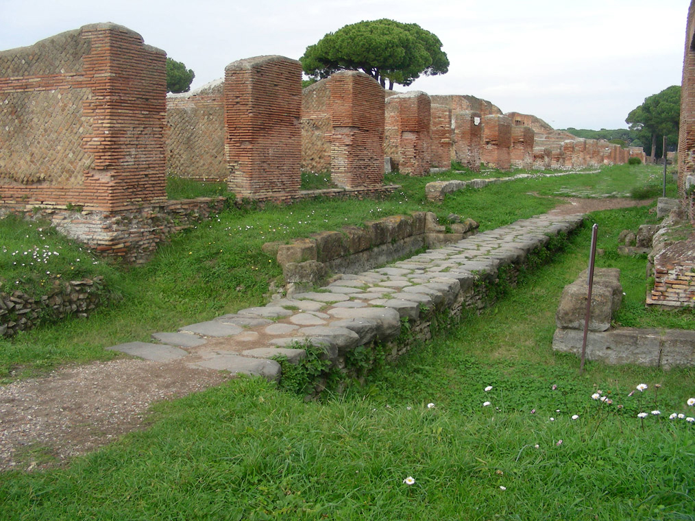 Remains of Porta Marina in Ostia antica, the harbour city of ancient Rome.