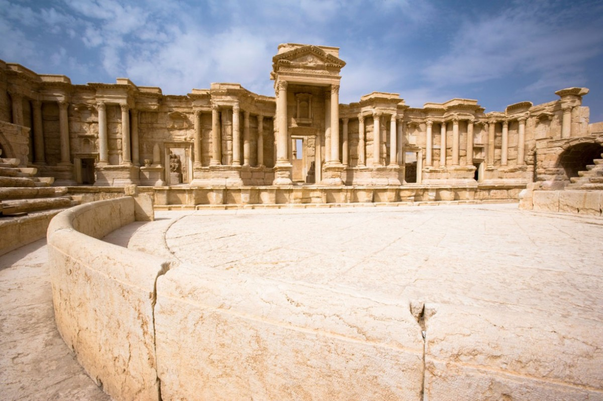 This unfinished Roman theatre dates back to the 2nd century CE, when Palmyra was once one of the most important cultural centres of the ancient world. In the mid-20th century it was restored and used as a venue for the annual Palmyra festival. Photo Credi: The Guardian/Alamy