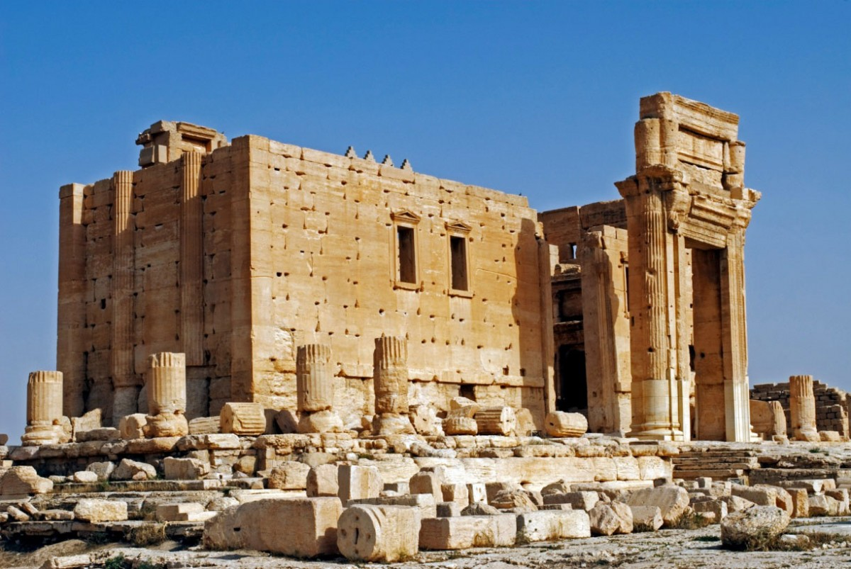 The temple of Baal in ancient Palmyra. The temple had suffered damage in previous artillery exchange some time back. Now it faces the danger of complete destruction. Photo Credit: The Guardian-Nick Laing/JAI/Corbis