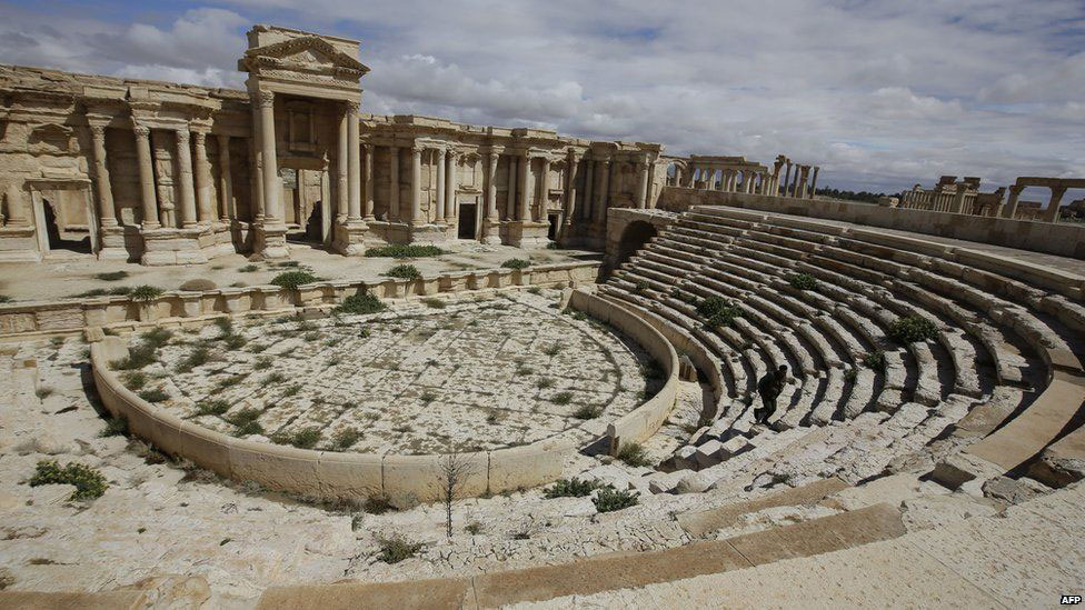 The ancient theatre preserved at the site. Photo Credit: AFP.
