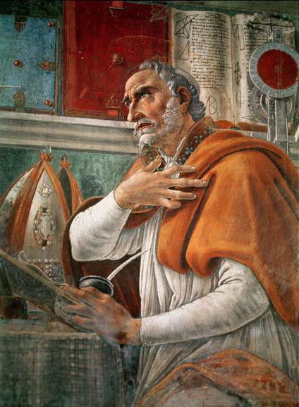 Augustine of Hippo (354–430 CE) as painted by Botticelli (c.1445–1510).