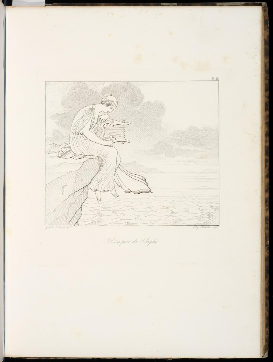 Désespoir de Sapho [Sappho, Bion, Moschus], Chatillon, Henri Guillaume, ca. 1780–1856 Girodet-Trioson, Anne-Louis, 1767–1824, Engraving, 1829, The Getty.