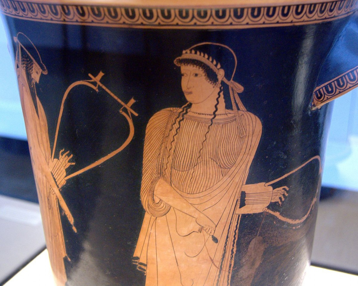 Alcaeus and Sappho. Side A of an Attic red-figure kalathos, ca. 470 BC. From Akragas (Sicily).