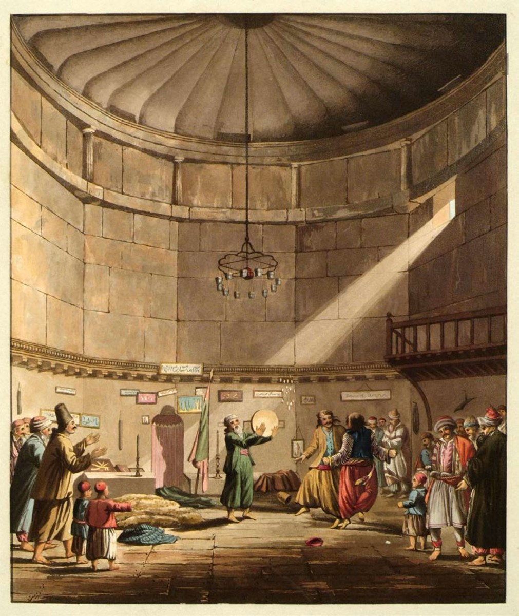 Dance of the Derwisches in the Tower of the Winds. Source: Edward Dodwell, Views in Greece (London, 1819).