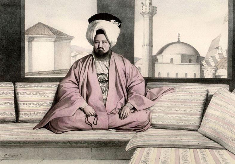 Mohammed Rushien Efendi, voivod of Athens.  Source: Louis Dupré, Voyage à Athènes et à Constantinople (Paris, 1825).