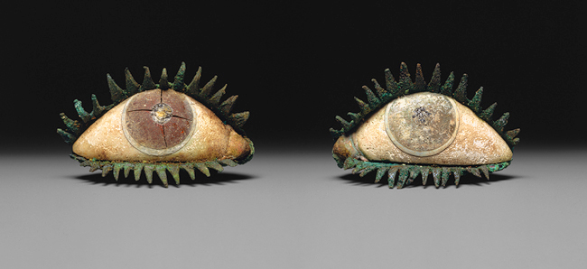Pair of eyes, 5th century B.C. or later. Probably Greek. Bronze, marble, frit, quartz, and obsidian. Metropolitan Museum of Art.