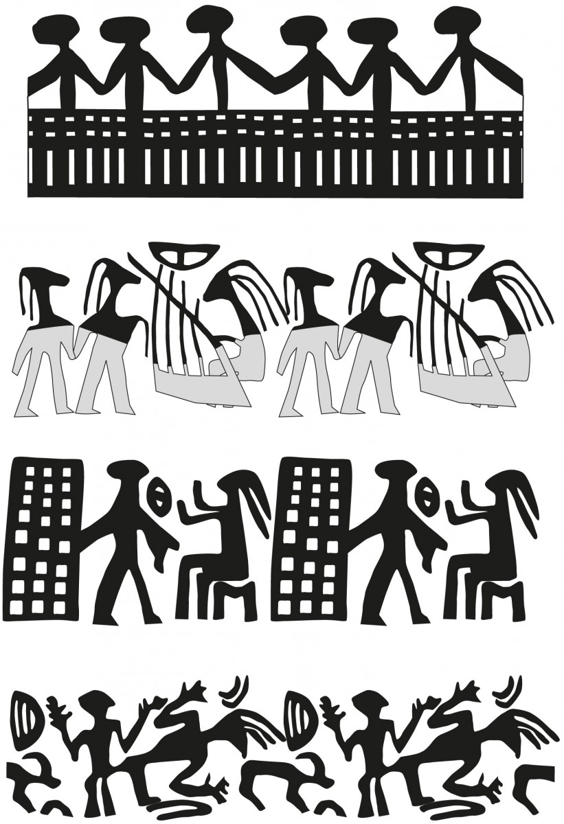 Reconstruction of the different ceremonial rites, based on fragments of impressions found in Israel and Jordan. Prepared by Nimrod Getzov, courtesy of the Israel Antiquities Authority