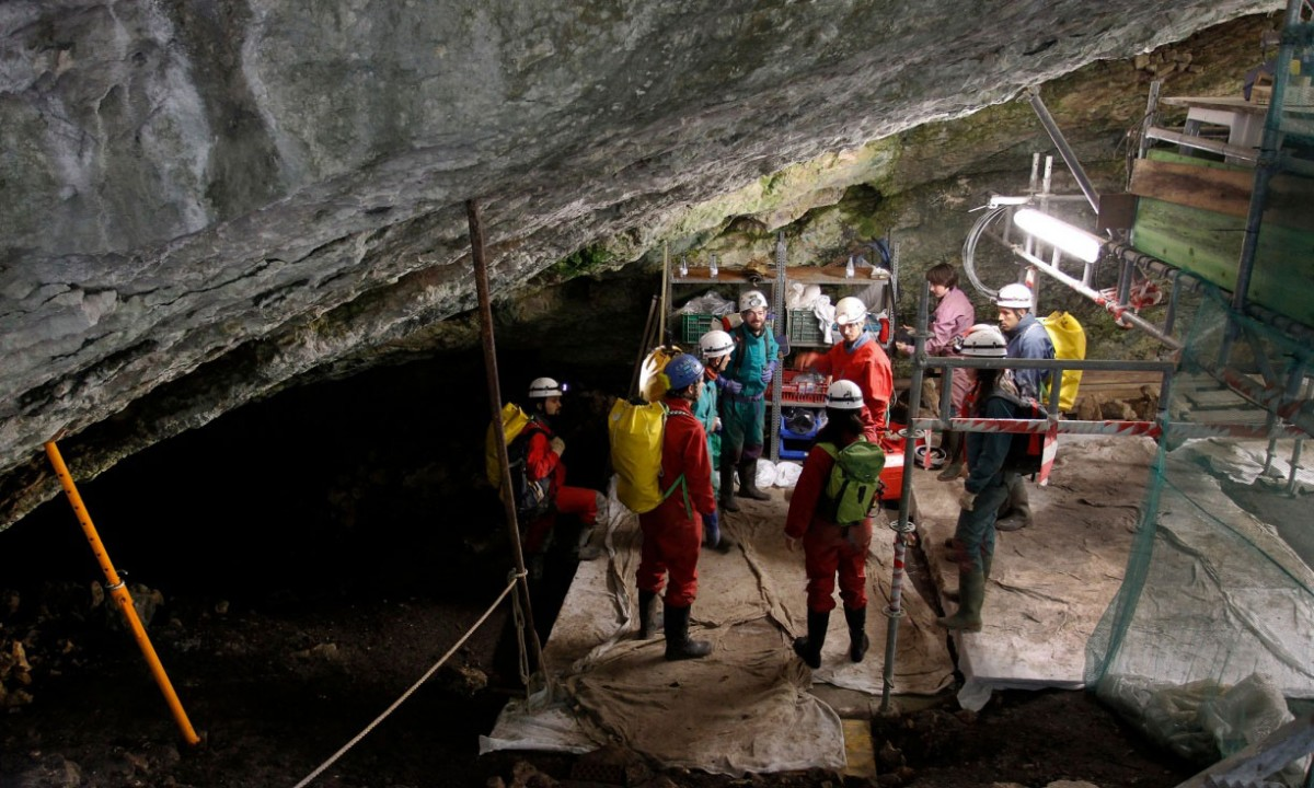 Workers at the Atapuerca archaelogical site preparing to go down to the Sima de los Huesos in 2010. The site is home to a large number of early human remains. Photo Credit: AFP/Getty Images.