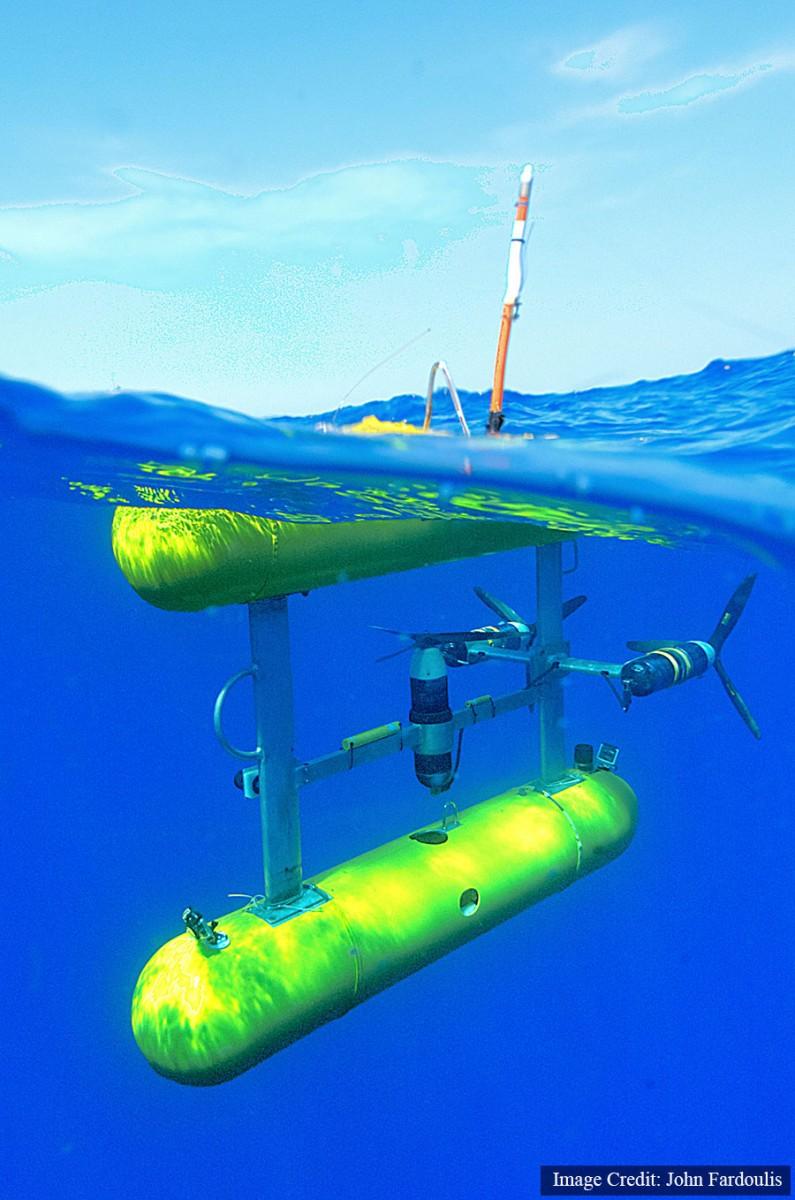 The Autonomous Underwater Vehicle has detected various objects on the sea-floor. Photo Credit: John Fardoulis.