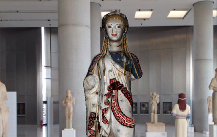Fig. 3. Photograph from the augmented reality application at the Acropolis Museum as part of the CHESS project. The photograph is reproduced from the project's website http://www.chessexperience.eu.