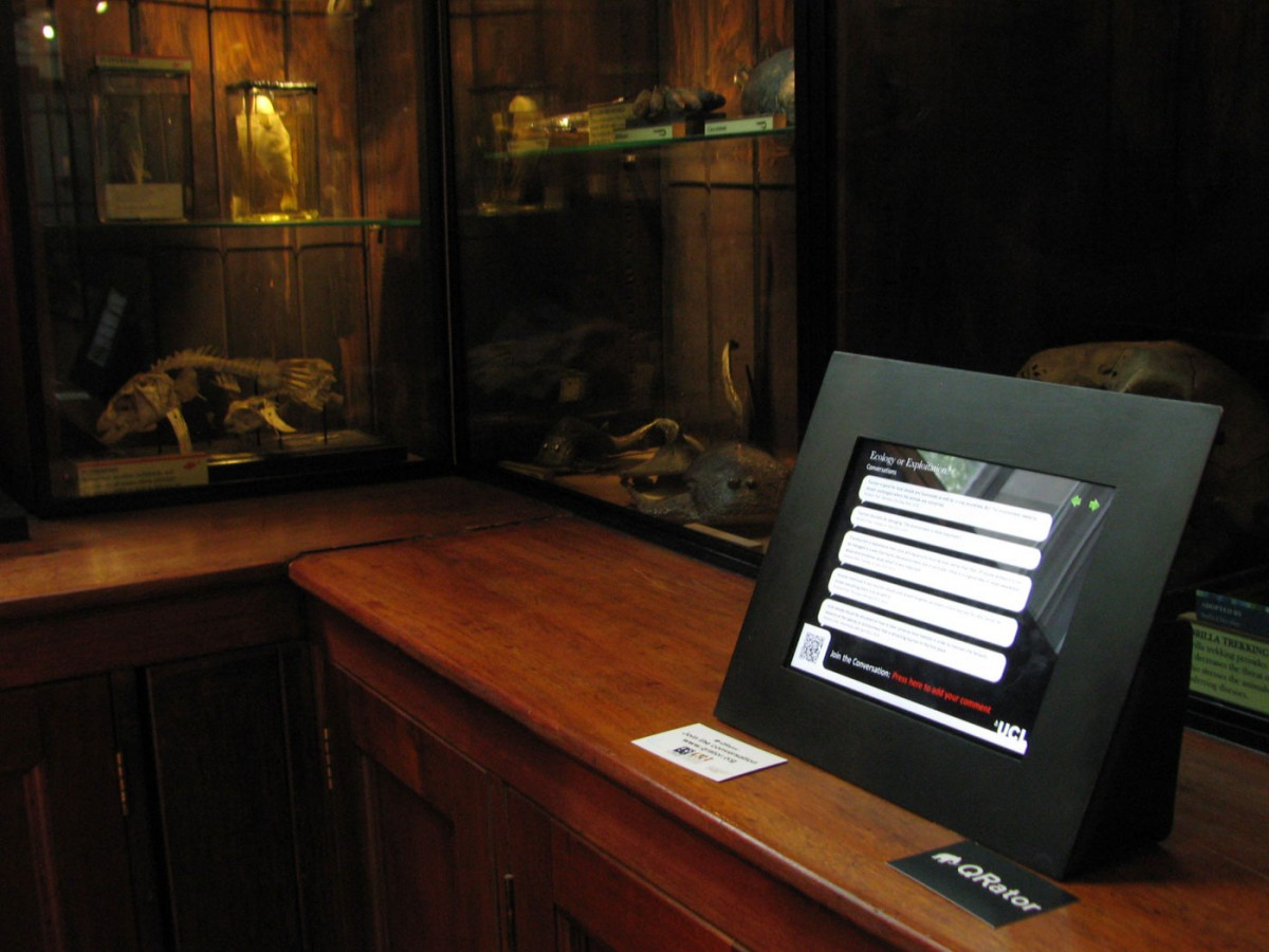 Fig. 4. One of the Qrator iPads at the Grant Museum. The Qrator project examined the relationship and the influence of using mobile phones and other digital technologies in the designing of new models for visitor participation, interpretation and storytelling in the museum.