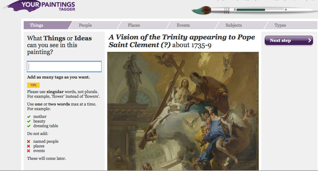 Fig. 7. 'Your Paintings' Tagger. Application on the 'Your Paintings' website (http://www.bbc.co.uk/arts/yourpaintings/)  that allows the public to participate in documenting the national collection of oil paintings in Britain.