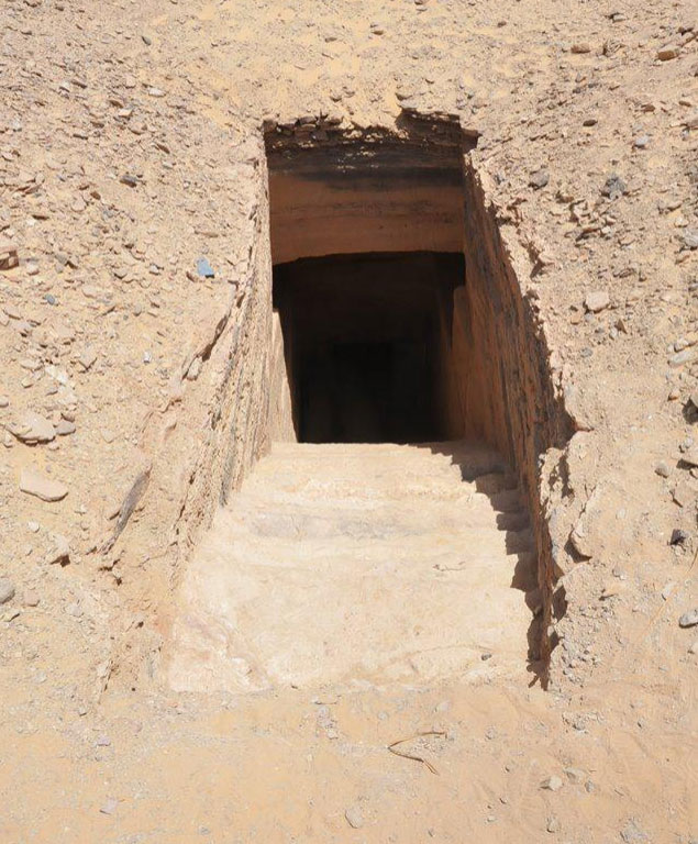 Stairs of 30 steps each lead to the main entrances of most of the discovered tombs. Credit: Ministry of Antiquities.