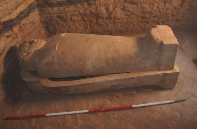 Among the finds were a group of stone and wooden sarcophagi containing the mummies of their owners. Credit: Ministry of Antiquities