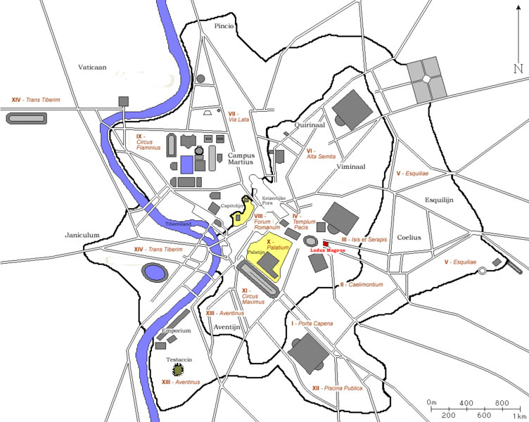 A map of ancient Rome, around 300 D, where Ludus Magnus is marked in Red. Photo Credit: Wikimedia Commons.