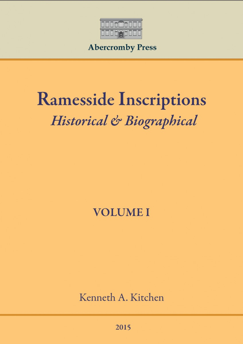 Kitchen's Ramesside Inscriptions is now available from Abercromby Press .