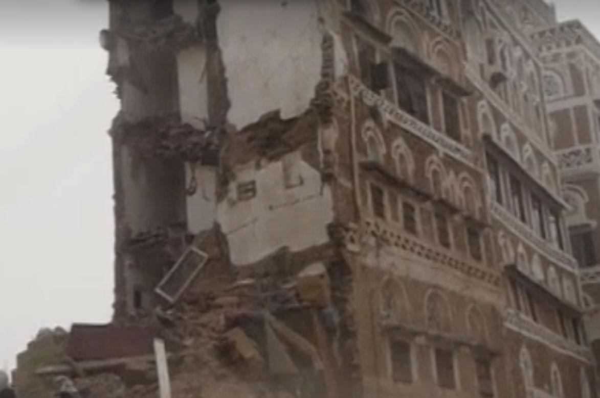 Several houses and historic buildings were destroyed in Sana'a. [Snapshot of Reuters video]