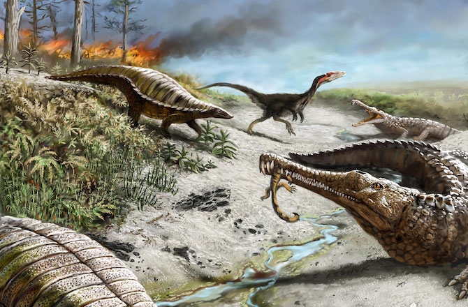 Recreation of what life was like in what is now northern New Mexico 212 million years ago. The image shows small carnivorous dinosaurs and other reptiles. Credit: Victor Leshyk.