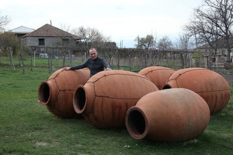 Winemaker Iago Bitarishvili makes wine in clay vessels called qvevri,
