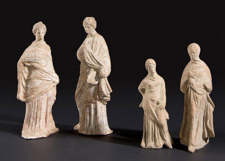 Tanagraeans, terracotta statues from Greece, Musée historique de Vevey.