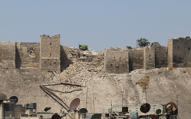 Part of the citadel wall turned to rubble after the explosion. Photo Credit: REUTERS.