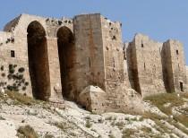 Citadel wall damaged in Aleppo after blast