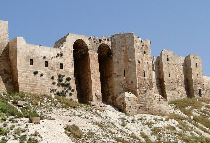 Detail of the wall of the Citadel of Aleppo, Syria. Photo Credit: Creative Commons.