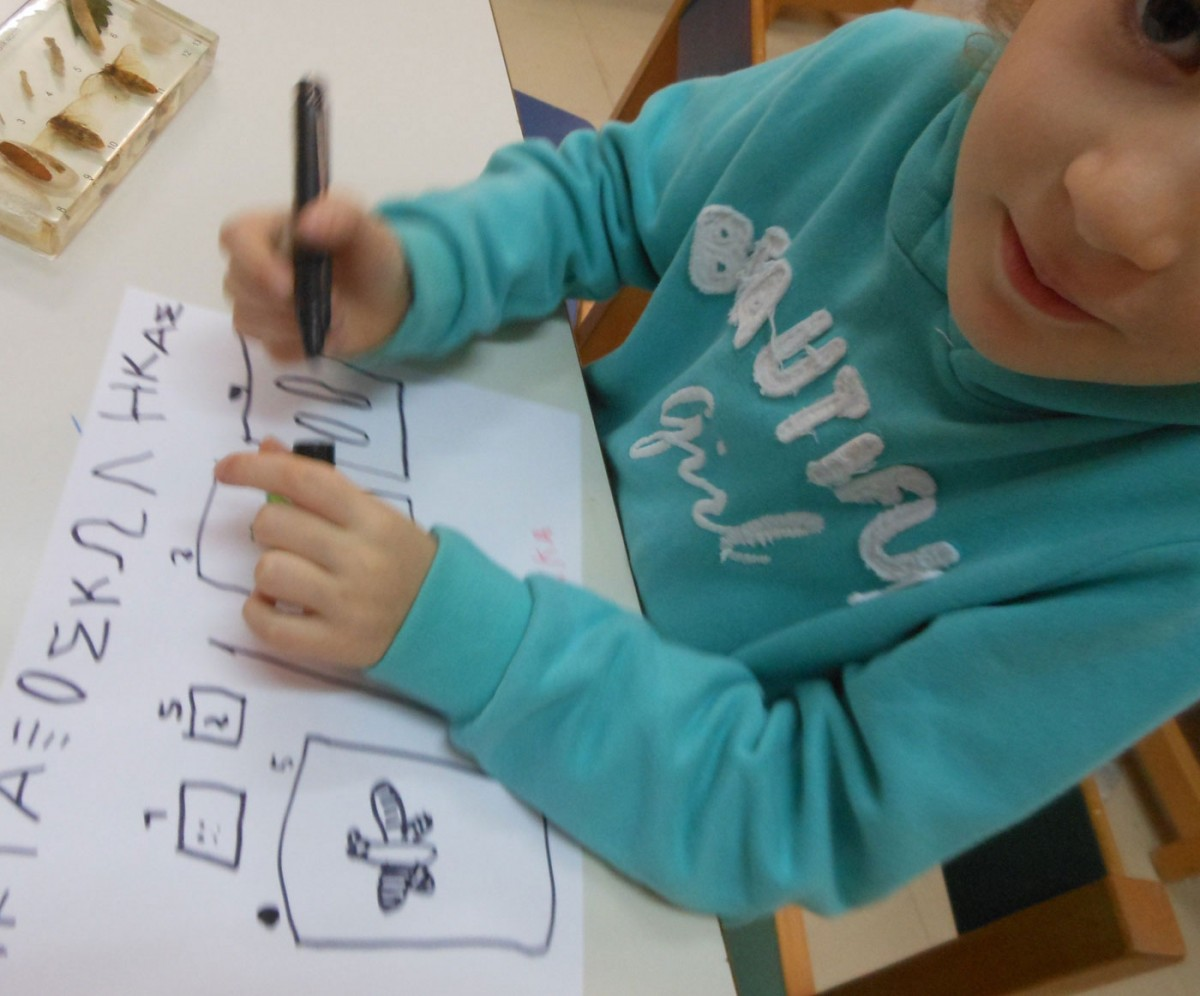 Fig. 3. Infants designing an exhibition for the classroom's museum corner. Activity from a cultural programme based on the material of a museum kit inspired by the insect collection at the Museum of Natural History (archive of V. Deligiannidis).