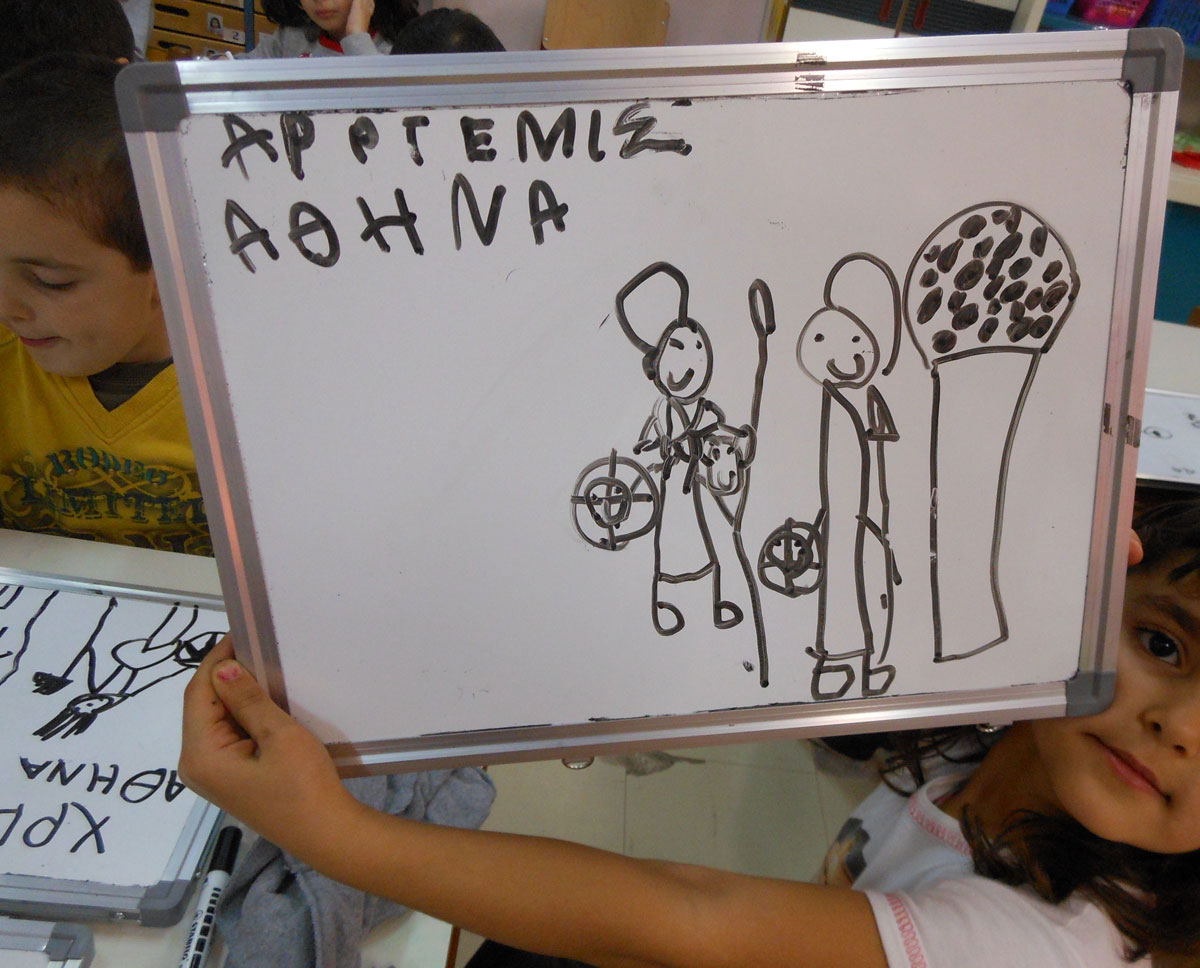"Fig. 7. Painting accompanied by a narrative from the project entitled ""The Goddess Athena is everywhere"" that emerged from the infants' wishes and decisions and ended with a museum visit with the realization of an educational programme (archive of V. Deligiannidis)."