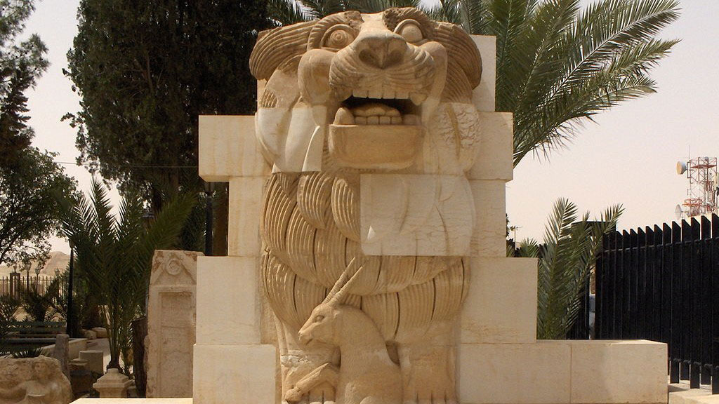 Lion in the garden of Palmyra Archeological Museum (Wikipedia).