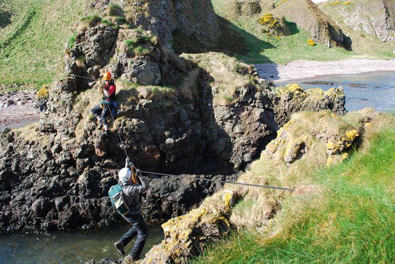 Zip-sliding across high tide – Duncan Paterson and Oskar Sveinbjarnarson. Photo Credit: University of Aberdeen / Past Horizons.