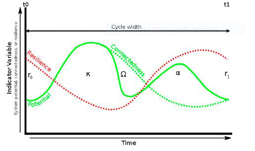 The adaptive cycle plotted as a time series graph. Photo Credit: PNAS.