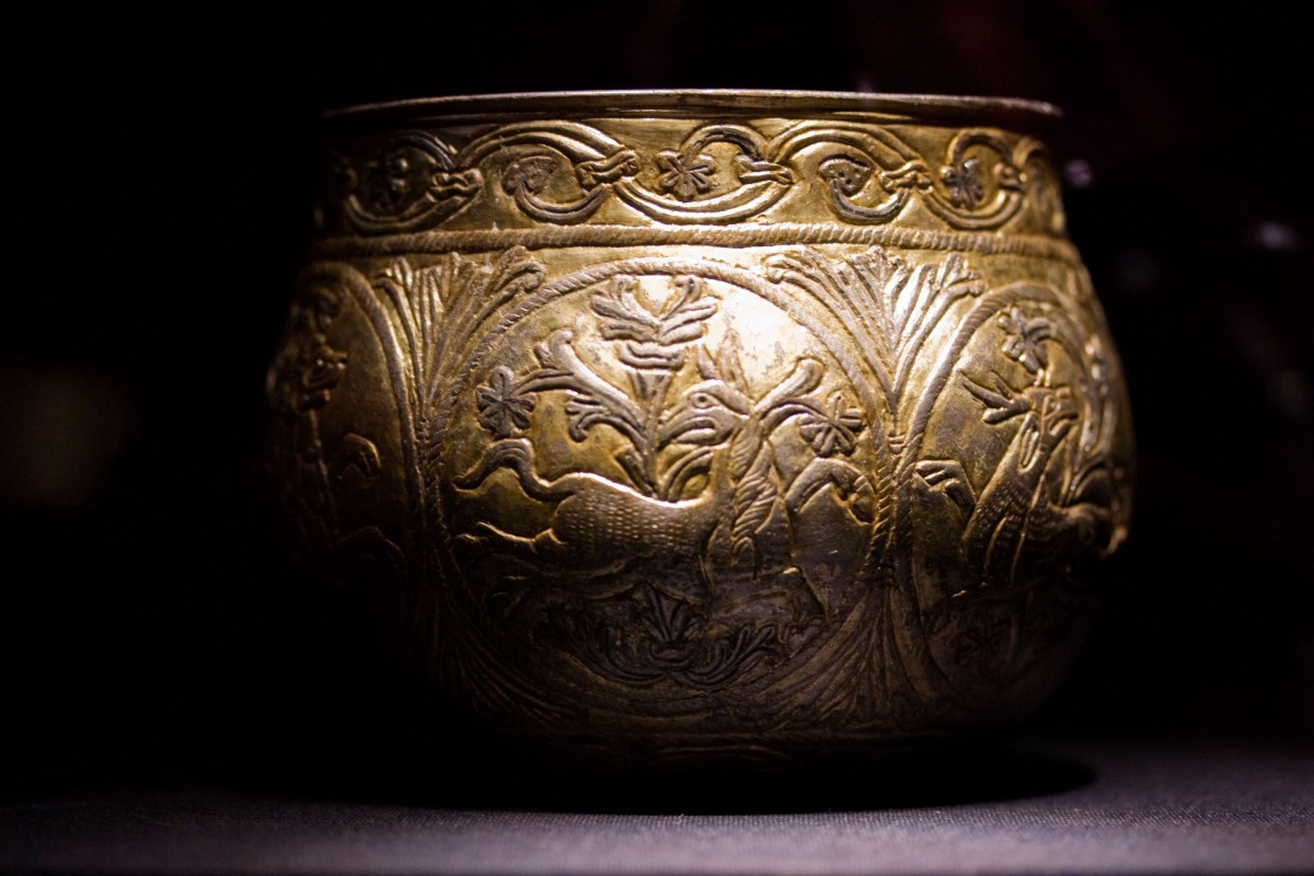 The Vale of York Cup - a Christian vessel from northern mainland Europe that was probably held by Scandinavians for some time after its capture, before finishing its life as the receptacle for a large silver hoard buried in Yorkshire. Photo Credit : Copyright York Museums Trust (Yorkshire Museum).